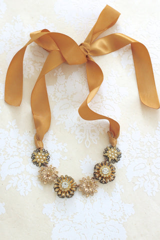 vintage style wedding necklace with gold ribbon SWEET WHISPERS