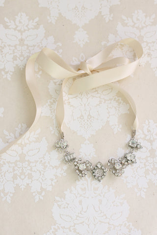 Silver rhinestone ribbon wedding necklace ANNA MARIA