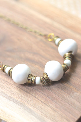 White stone unique long necklace HIGHLANDER