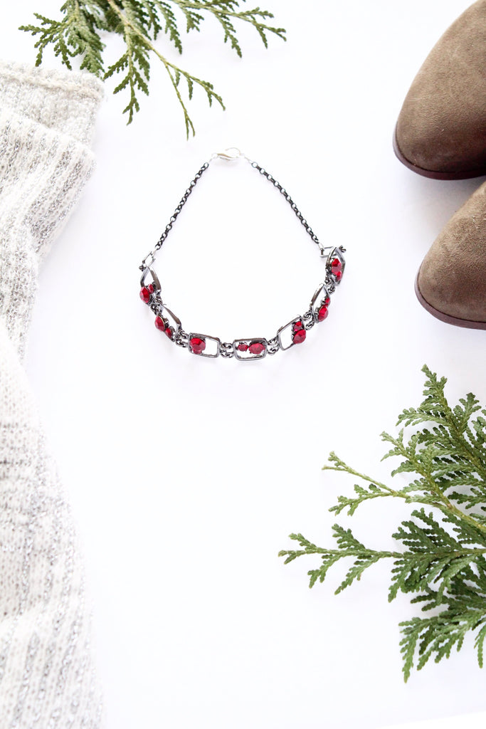 ruby red choker vintage inspired jewelry handmade in Toronto Canada