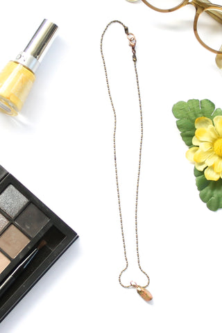 dainty gem stone necklace BEACH ROCKS