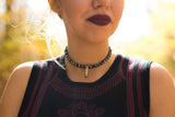 black fabric choker with bullett pendant BULLET PROOF