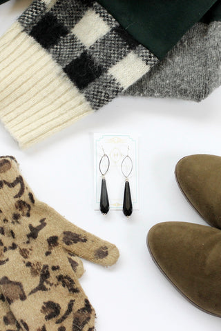 Black long statement earrings SIN
