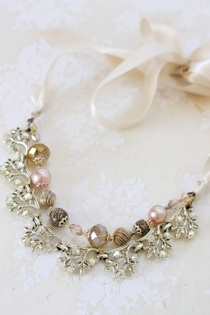 Bridesmaid necklace ribbon LINA