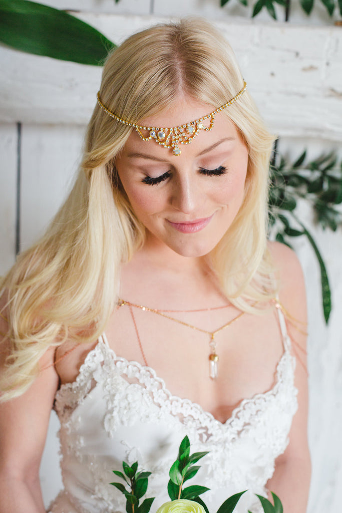 Gold crystal unique headpiece HONEY LOVE