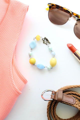Light blue and yellow bead bracelet GOLDEN REINS