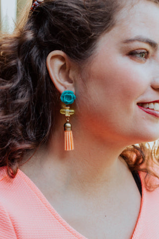 turquoise flowers, peach and yellow tassel earrings