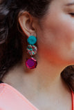 hot pink turquoise long earrings