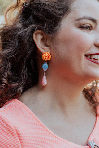 orange and pink drop earrings