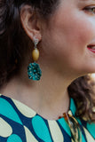 yellow turquoise flower polka dot earrings handmade in toronto, canada