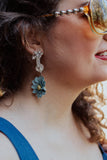 blue vintage crystal earrings