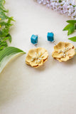 yellow big flower earrings
