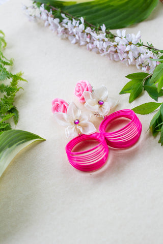 pink summer flower earrings