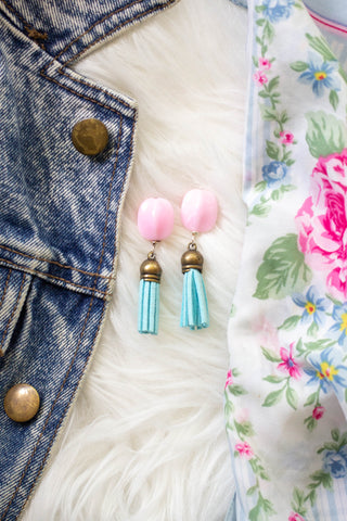 pink and turquoise vintage earrings