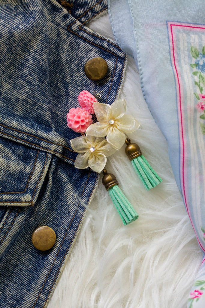 Turquoise tassel with pink floral and white flower earrings