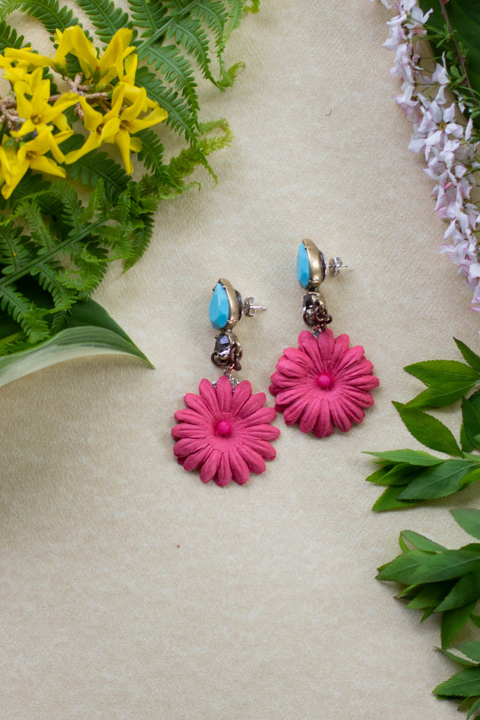 turquoise and pink flower earrings