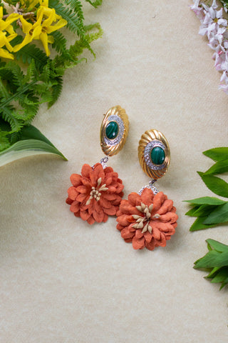 orange and green vintage earrings