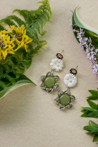 green and white vintage earrings