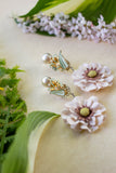 neutral flower earrings