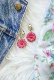 pink paper flower light earrings with vintage rhinestones handmade in toronto