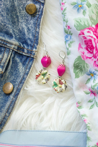 pink vintage paper flower earrings