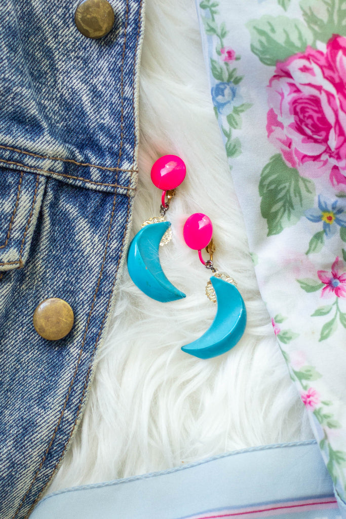 blue and pink moon long earrings handmade in toronto