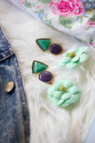mint seafoam green flower earrings