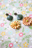 green orange flower long earrings