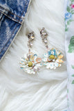 coloured flower vintage rhinestone earrings