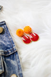 red and orange fire flower earrings