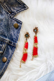 red and turquoise long earrings