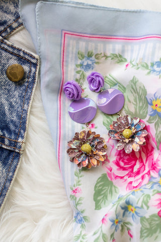 purple floral statement earrings