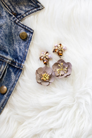 mauve beige flower earrings
