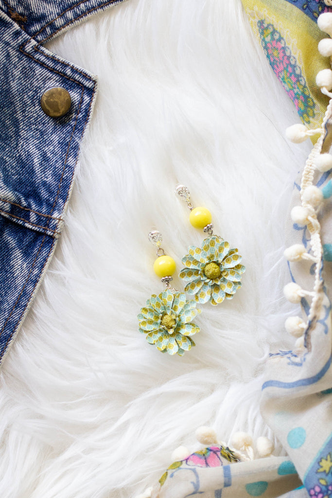yellow and blue flower earrings