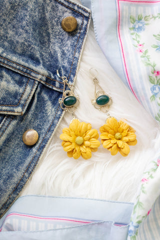 yellow floral and green statement earrings