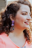 purple three tier vintage statement earrings handmade in toronto canada