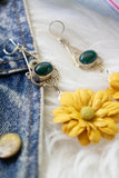 yellow and green floral earrings one of a kind vintage pieces handmade in toronto