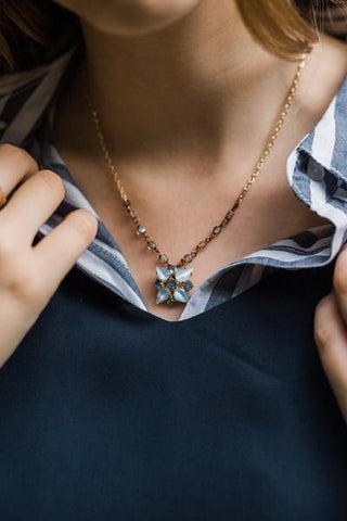 blue dainty necklace