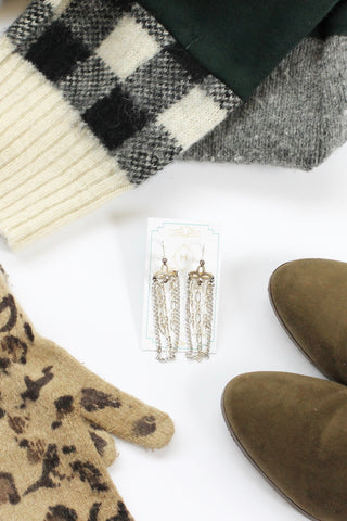 Silver statement chain earrings SWEET INNOCENCE