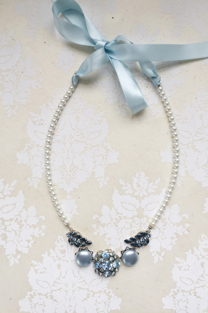 something blue pearl bridal necklace THIS IS THE WAY