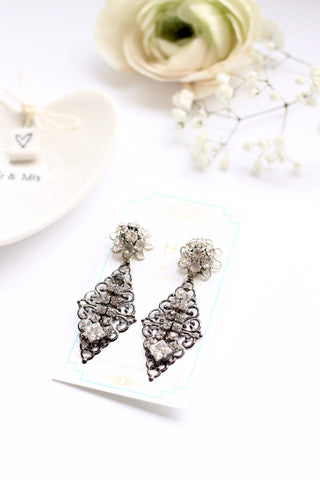 silver rhinestone bridal earrings MISTY THUNDER