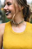 mustard shirt with fall jewelry toronto choker necklace