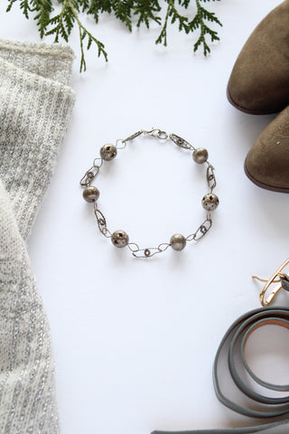 vintage inspired jewellery handmade in toronto metallic choker ball and chain