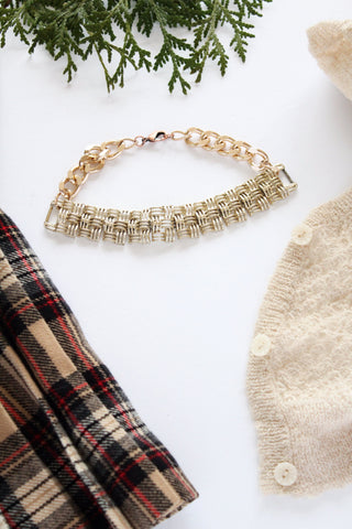 vintage inspired golden weave pattern choker necklace handmade toronto canada
