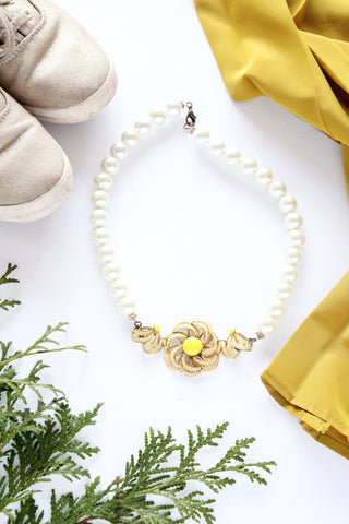 vintage inspired pearls and golden sun pendant necklace