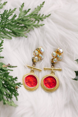 red and gold rhinestone drop vintage statement earrings