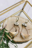 sparkly gold rhinestone long dangly vintage earrings handmade in toronto