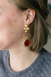 gold vintage rhinestone statement earrings with red drop handmade in toronto