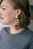 burgundy and gold statement vintage earrings handmade in toronto