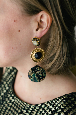 vintage inspired statement earrings black, green, gold- City of Westeros
